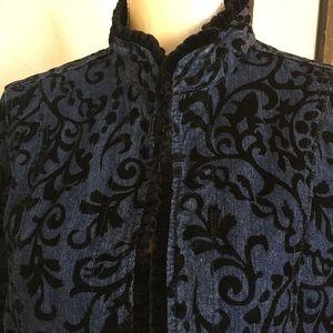 Denim & Black Velvet Jacket Mini Velvet Ruffle